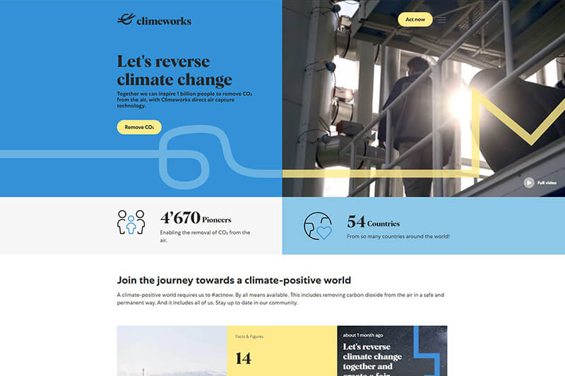 Climeworks climate tech - carbon capture and CO2 removal